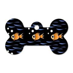 Fish pattern Dog Tag Bone (One Side)