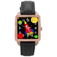 Spaceship Rose Gold Leather Watch