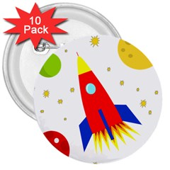 Transparent spaceship 3  Buttons (10 pack)