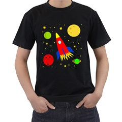 Transparent spaceship Men s T-Shirt (Black) (Two Sided)