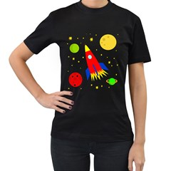 Transparent spaceship Women s T-Shirt (Black) (Two Sided)