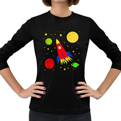 Transparent spaceship Women s Long Sleeve Dark T-Shirts