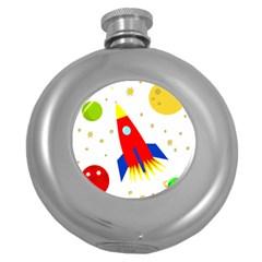 Transparent spaceship Round Hip Flask (5 oz)