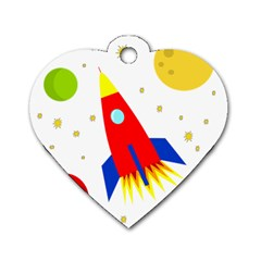 Transparent spaceship Dog Tag Heart (Two Sides)
