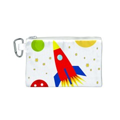 Transparent spaceship Canvas Cosmetic Bag (S)