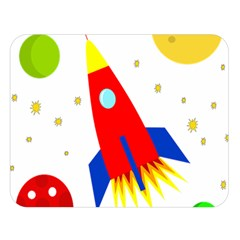 Transparent spaceship Double Sided Flano Blanket (Large)