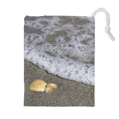 Seashells in the waves Drawstring Pouches (Extra Large)