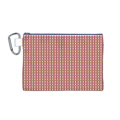 Mod Pink Green Pattern Canvas Cosmetic Bag (M)