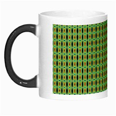 Mod Green Orange Pattern Morph Mugs