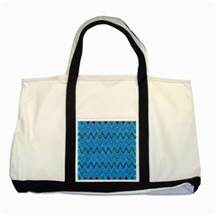 Blue Wavy Squiggles Two Tone Tote Bag