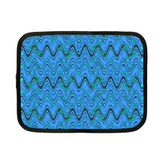 Blue Wavy Squiggles Netbook Case (Small)
