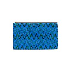 Blue Wavy Squiggles Cosmetic Bag (Small)
