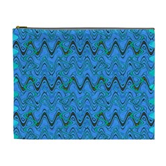 Blue Wavy Squiggles Cosmetic Bag (XL)
