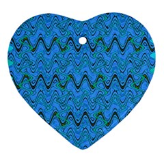 Blue Wavy Squiggles Ornament (Heart)