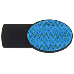 Blue Wavy Squiggles USB Flash Drive Oval (1 GB)