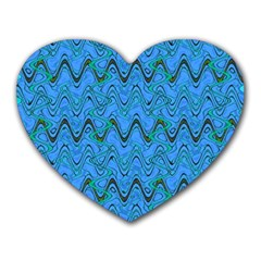 Blue Wavy Squiggles Heart Mousepads