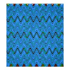 Blue Wavy Squiggles Shower Curtain 66  x 72  (Large)