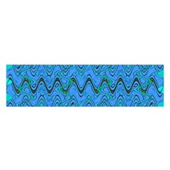 Blue Wavy Squiggles Satin Scarf (oblong)