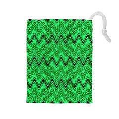 Green Wavy Squiggles Drawstring Pouches (Large)