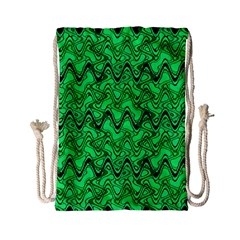 Green Wavy Squiggles Drawstring Bag (Small)