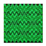 Green Wavy Squiggles Face Towel Front