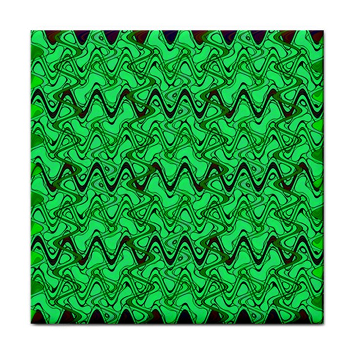 Green Wavy Squiggles Face Towel
