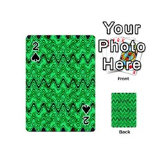 Green Wavy Squiggles Playing Cards 54 (Mini)
