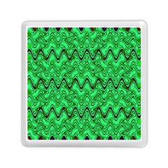 Green Wavy Squiggles Memory Card Reader (Square)