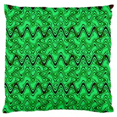Green Wavy Squiggles Large Flano Cushion Case (One Side)