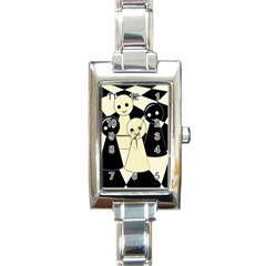 Chess pieces Rectangle Italian Charm Watch