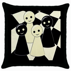 Chess pieces Throw Pillow Case (Black)