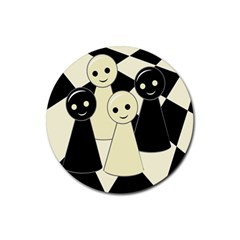 Chess pieces Rubber Round Coaster (4 pack)