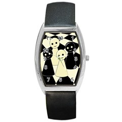 Chess pieces Barrel Style Metal Watch