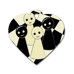 Chess pieces Dog Tag Heart (Two Sides)