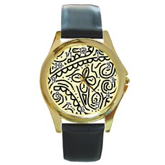 Artistic abstraction Round Gold Metal Watch