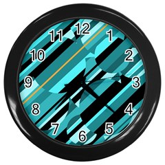 Blue abstraction Wall Clocks (Black)