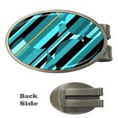 Blue abstraction Money Clips (Oval)