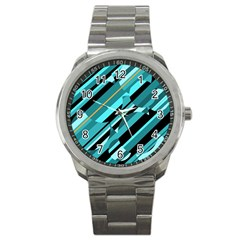 Blue abstraction Sport Metal Watch