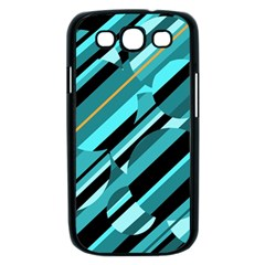 Blue abstraction Samsung Galaxy S III Case (Black)