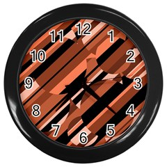 Orange pattern Wall Clocks (Black)
