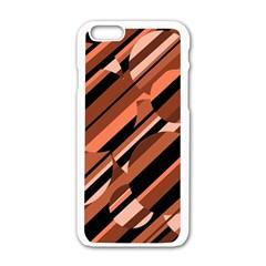 Orange pattern Apple iPhone 6/6S White Enamel Case