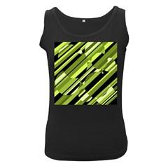 Green pattern Women s Black Tank Top