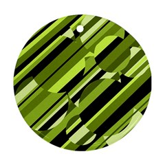 Green pattern Round Ornament (Two Sides)