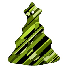 Green Pattern Christmas Tree Ornament (2 Sides)
