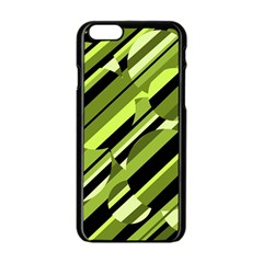 Green pattern Apple iPhone 6/6S Black Enamel Case