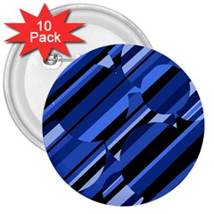 Blue pattern 3  Buttons (10 pack)