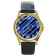 Blue pattern Round Gold Metal Watch