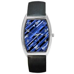 Blue pattern Barrel Style Metal Watch