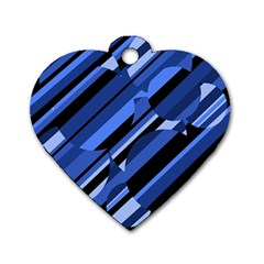 Blue pattern Dog Tag Heart (One Side)