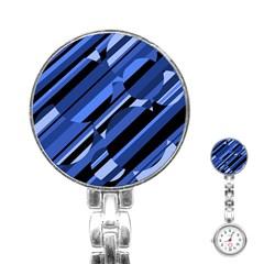 Blue pattern Stainless Steel Nurses Watch